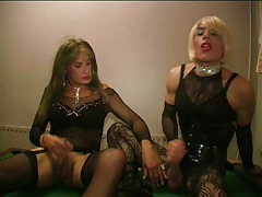 2 TV fucksluts without a condom poke and deepthroat in the poolroom part 2