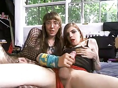 Beauty gurl getting drilled by her crossdressing masculine