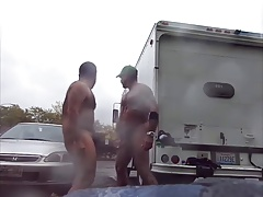 Guys Very Public Rainy Milking in parking lot