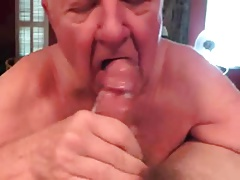 White-haired grandpa perfectly Blow-job with  cleaning