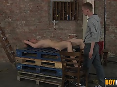 Ashton trusses up Dylan stiffy and gives it a masturbate until he spunks