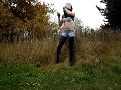 Huge-titted Sandralein33 Smoking in  Denim a Leggins Outdoor