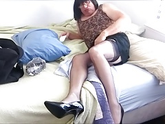 Flirty Micro-skirt and Nylons Lead to a Wild Bobbie