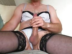 Cross dressing in panties, brassiere and hold-ups gets sloppy