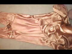 on gold Satin ball gown