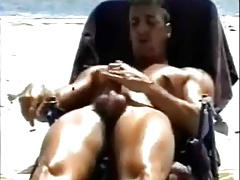 Jerking his phat man sausage on the beach