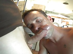 Super-steamy facial in stockroom