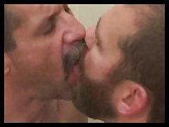 Mature dudes deep-throating & arse slurping in the shower.