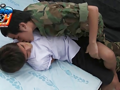 schoolboy And Military Insatiable Play