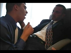 suited dad penetrates stud at office