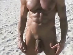 70 yr old bodybuilder on bare beach