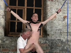 Masculine models Sean McKenzie is trussed up and at the  of ma