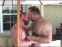 Hairy men muscle boning