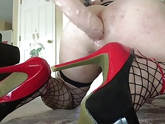 Crossdressing cam showcase with bam faux-cock