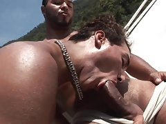 Seaside men have raunchy gorgeous in a boat