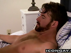 JD takes Brendans trunk into his throat and commences  him