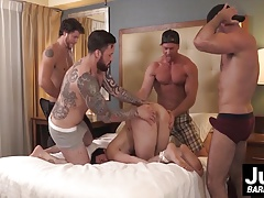 Gang of super-steamy muscle  ravage  corded up men butthole