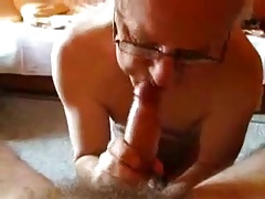 Beautiful grandpa gargling a man-meat