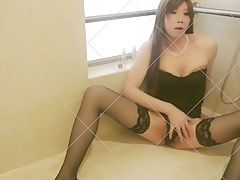 Japanese Sissy Crossdresser uses Champagne Bottle Fuck stick