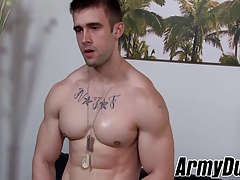 Fit and beefy soldier Mathias milking his large enormous knob
