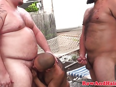 Obese threesome wolves pummeling butt no condom