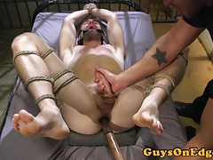 Domination & submission slave restricted in box and jerked by cop