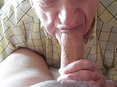 Dentured Grandpa deep throats a ultra-cute one!