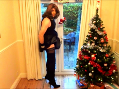 Alison in Thigh Shoes -  under the christmas tree