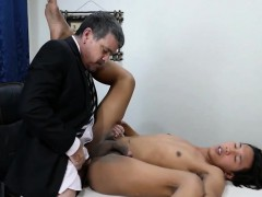 Filipino twink barebacked encircling the office