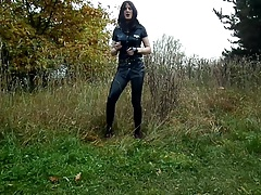 Sandralein33 Smoking Police Nymph in Lack Leggins Outdoor